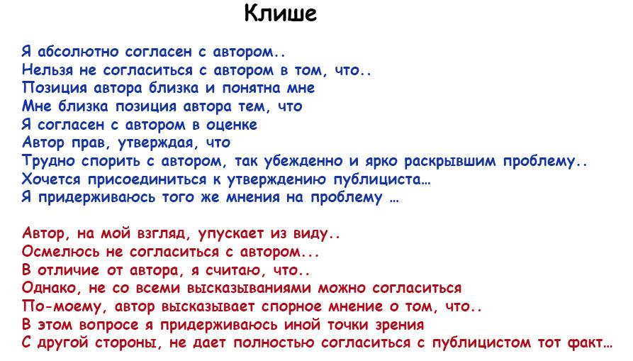 клише сочинение егэ по русскому языку образец 2016